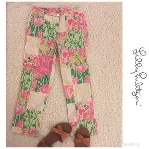 Lilly Pulitzer Pink and Green Patch Pants